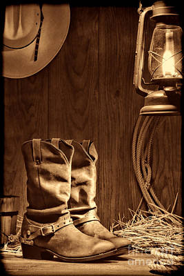 Cowboy Boots At The Ranch Poster