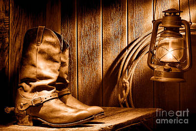 Cowboy Boots In Old Barn - Sepia Poster by Olivier Le Queinec