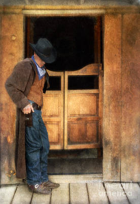 Cowboy By Saloon Doors Poster by Jill Battaglia