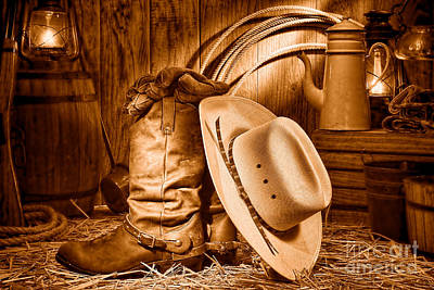 Cowboy Gear In Barn - Sepia  Poster by Olivier Le Queinec