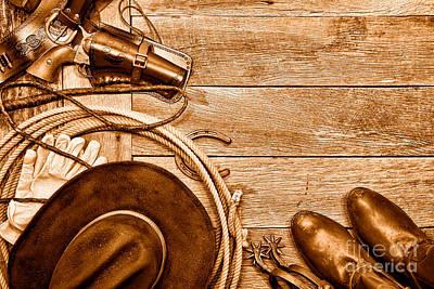 Cowboy Gear - Sepia Poster