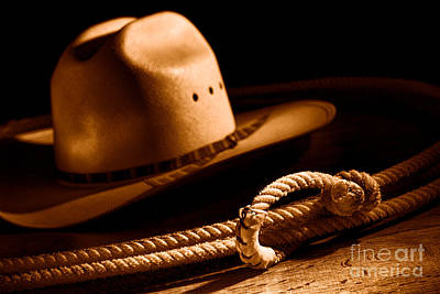 Cowboy Hat And Lasso - Sepia Poster