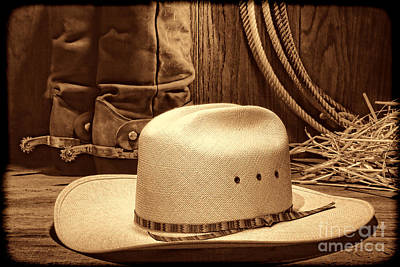 Cowboy Hat With Western Boots Poster
