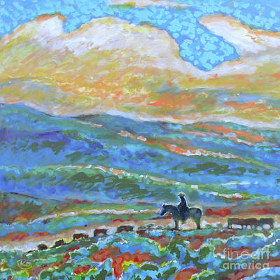 Cowboy On The Open Range Poster by Kip Decker