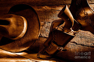Cowboy Safety - Sepia Poster by Olivier Le Queinec