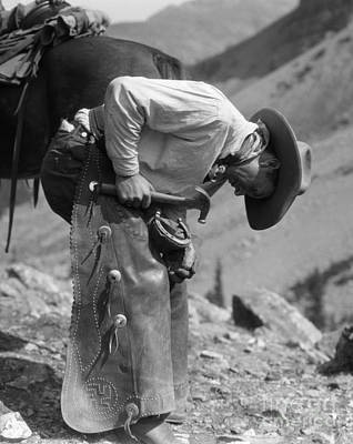 Cowboy Shoeing A Horse, C.1920-30s Poster