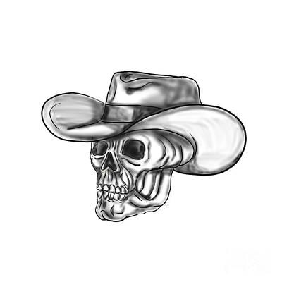 Cowboy Skull Tattoo Poster by Aloysius Patrimonio
