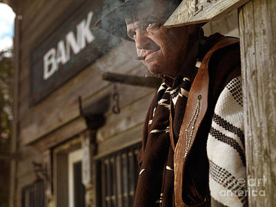 Cowboy Smoking A Cigar Outside Of A Bank Building Poster by Oleksiy Maksymenko