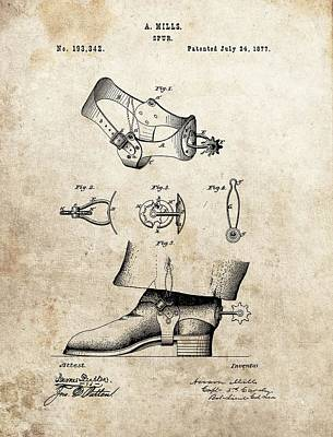 Cowboy Spurs Patent Poster by Dan Sproul
