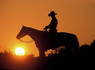 Cowboy Sunset Silhouette Poster