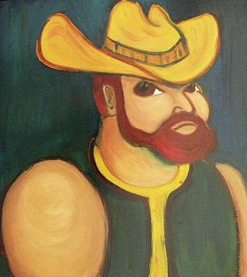 Cowboy With Yellow Hat Poster by Suzanne  Marie Leclair