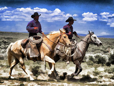 Poster featuring the digital art Cowboys On Horseback Riding The Range by Nadja Rider