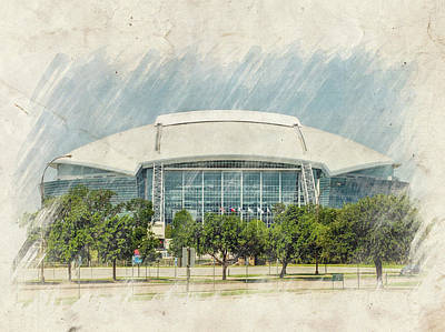 Cowboys Stadium Poster by Ricky Barnard