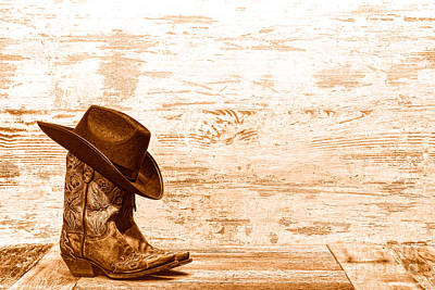 Cowgirl Boots - Sepia Poster by Olivier Le Queinec