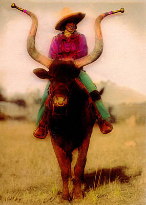 Cowgirl On A Bull Poster by JDon Cook
