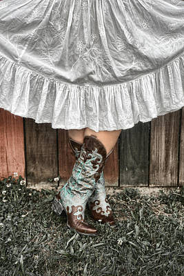 Cowgirl Skirt With Boots Poster by Sharon Popek