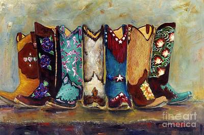 Cowgirls Kickin The Blues Poster by Frances Marino