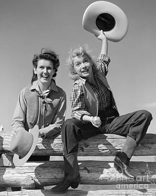 Cowgirls Sitting On A Fence, C.1940s Poster