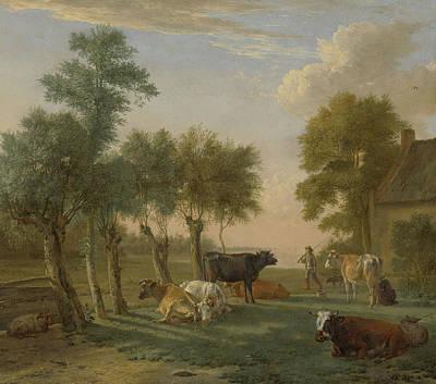 Cows In A Meadow Near A Farm Poster
