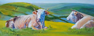 Cows Lying Down In Devon Hills Poster