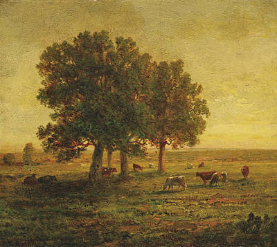 Cows Under A Group Of Oaks. Apremont Poster by Theodore Rousseau