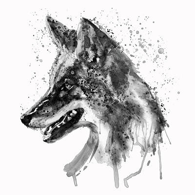 Coyote Head Black And White Poster by Marian Voicu