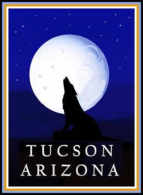 Poster featuring the digital art Coyote Moon - Tucson, Arizona by Vagabond Folk Art - Virginia Vivier