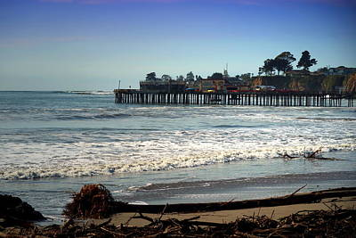 Capitola Beach And Wharf Poster by Joyce Dickens