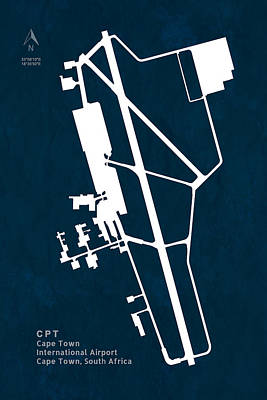 Cpt Cape Town International Airport Silhouette In Blue Poster