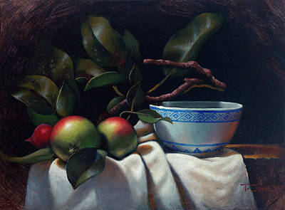 Crabapples And Rice Bowl Poster by Timothy Jones