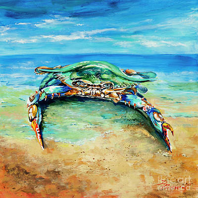 Crabby At The Beach Poster by Dianne Parks