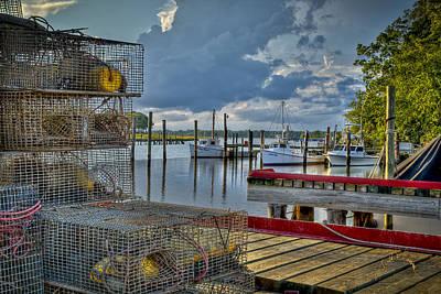 Crabpots And Fishing Boats Poster