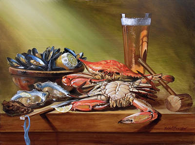 Crabs And Beer Poster by Scott Broadfoot