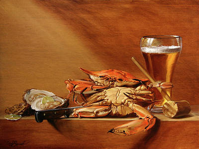 Crabs, Oysters And Beer Poster by Scott Broadfoot