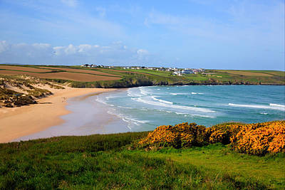 Crantock Bay And Beach North Cornwall England Uk Near Newquay With Waves In Spring Poster by Michael Charles