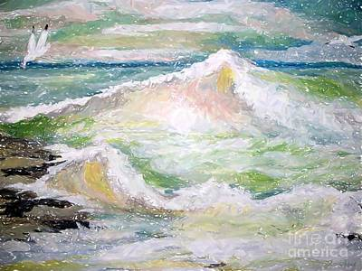 Poster featuring the painting Crashing Wave by Carol Grimes
