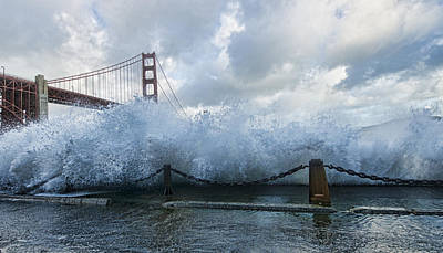 Poster featuring the photograph Crashing Wave Golden Gate Bridge King Tide by Steve Siri