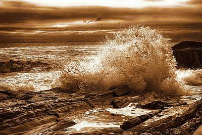 Crashing Wave Hdr Golden Glow Poster by Sherman Perry