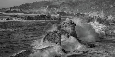 Crashing Waves Big Sur Ca Bw Poster
