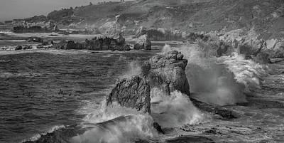 Crashing Waves Big Sur Ca Bw Poster by Steve Gadomski