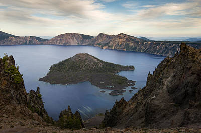 Crater Lake At Sunset Poster