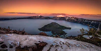 Crater Lake Summer Sunset Poster