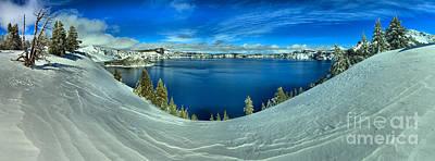 Crater Lake Winter Panorama Scene Poster