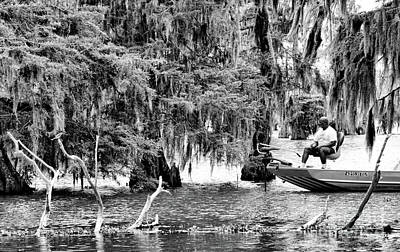 Crawler Boat Fishing Swamps Black White  Poster