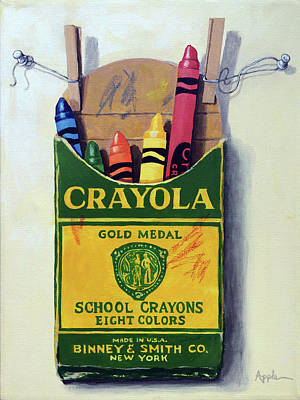 Poster featuring the painting Crayola Crayons Painting by Linda Apple