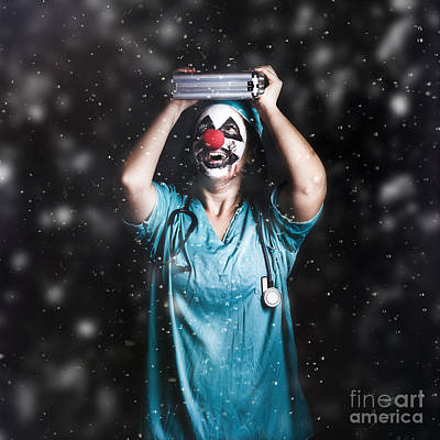 Crazy Doctor Clown Laughing In Rain Poster by Jorgo Photography - Wall Art Gallery