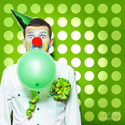 Crazy Party Clown Inflating Green Party Balloon Poster