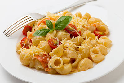 Cream And Tomato Pasta With Fork Poster