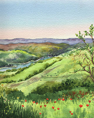 Creek In The Hills Watercolor Landscape  Poster
