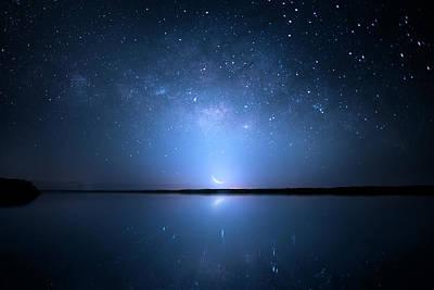 Crescent Moon Milky Way Poster